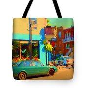 Elses Pub Cafe Plateau Montreal Corner Roy And De Bullion City Scene Art Of Montreal Carole Spandau Tote Bag