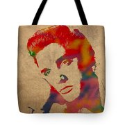 Elvis Presley Watercolor Portrait On Worn Distressed Canvas Tote Bag