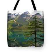 Emerald Lake Reflection And Pine Tree In Yoho National Park-british Columbia-canada Tote Bag