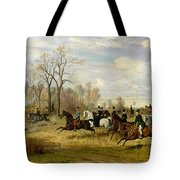 Emperor Franz Joseph I Of Austria Hunting To Hounds With The Countess Larisch In Silesia Tote Bag