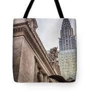 Empire State Building And Grand Central Station Dramatic Tote Bag by For Ninety One Days