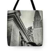 Empire State Building And Grand Central Station Vintage Black And White Tote Bag by For Ninety One Days