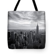Empire State Building And Midtown Manhattan Black And White Tote Bag