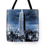 Empire State Building Blimp Docking Blue Tote Bag