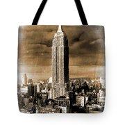Empire State Building Blimp Docking Sepia Tote Bag