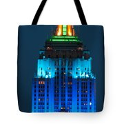 Empire State Building Lit Up At Night Tote Bag