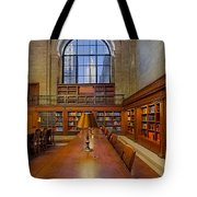 Empire State View From The Nypl Tote Bag