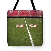 Empty American Football Stadium 50 Yard Line Tote Bag