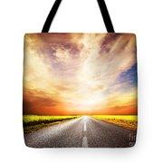 Empty Asphalt Road. Sunset Sky Tote Bag