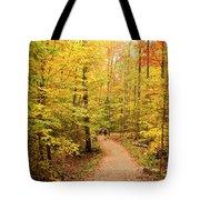 Empty Trail Runs Through Tall Trees Tote Bag