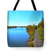 Empty Train Tracks Of Rockford On The Rock River With Fall Colors Tote Bag