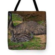 Emu And Chicks Tote Bag