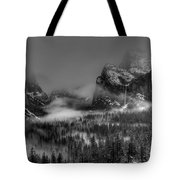 Enchanted Valley In Black And White Tote Bag by Bill Gallagher