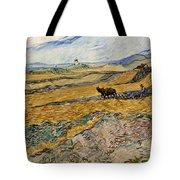 Enclosed Field With Plowman  Tote Bag