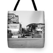 End Of The Line In Black And White Tote Bag