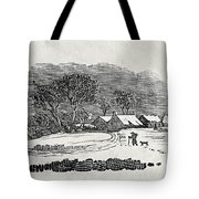 Endpiece, Late 18th Or Early 19th Century Wood Engraving 99;landscape; Winter; Figure; Snow; Snowy; Tote Bag