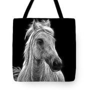Energetic White Horse Tote Bag
