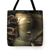 Radial Engine And Fuselage Detail - Radial Engine Aluminum Fuselage Vintage Aircraft Tote Bag by Gary Heller