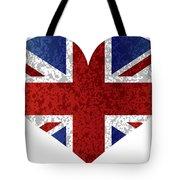 England Union Jack Flag Heart Textured Tote Bag