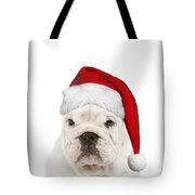 English Bulldog In Christmas Hat Tote Bag