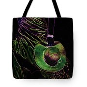 Enigma Emerald. Black Art Tote Bag by Jenny Rainbow