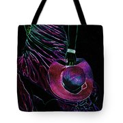 Enigma Purple. Black Art Tote Bag by Jenny Rainbow