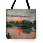 Enjoying The Sunset By Elmer's Pond Tote Bag