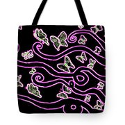 Enlighted Silhouette With Butterflies Tote Bag