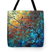Enormous Abstract Bird Art Original Painting Where The Heart Is By Madart Tote Bag