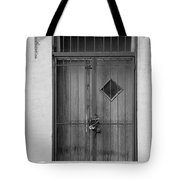 Enter In Black And White Tote Bag