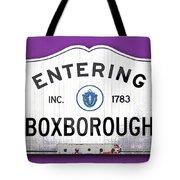 Entering Boxborough Tote Bag
