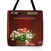 Entrance Door With Flowers Tote Bag