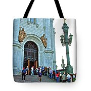 Entrance To Christ The Savior Cathedral In Moscow-russia Tote Bag