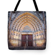 Entrance To The Barcelona Cathedral At Night Tote Bag