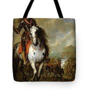 Equestrian Portrait Of Prince Eugene De Savoie 1663-1736 C.1700-10 Oil On Panel Tote Bag