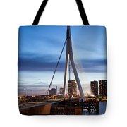 Erasmus Bridge And City Skyline Of Rotterdam At Dusk Tote Bag