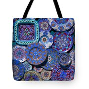 Erice Italy Plates Blue Tote Bag