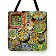 Erice Sicily Plates Yellow Tote Bag