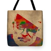 Ernest Hemingway Watercolor Portrait On Worn Distressed Canvas Tote Bag by Design Turnpike