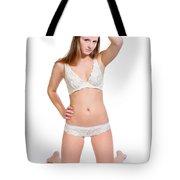 Erotic Blonde In White Lingerie Tote Bag