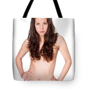 Erotic Nude Brunette Tote Bag