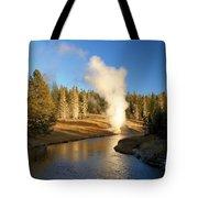 Eruption Along The Riverside Tote Bag
