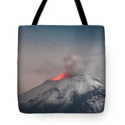 Eruption Of A Volcanoe At Night Tote Bag