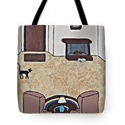 Essence Of Home - Black And White Cat In Living Room Tote Bag