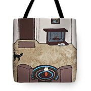 Essence Of Home - Cat By Fireplace Tote Bag