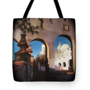 Esther Henderson Photo Back North Entrance  Of San Xavier Mission Tucson Arizona 1957-2013  Tote Bag