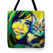 Evangelina And The Cat Tote Bag