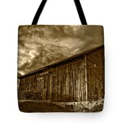 Evening Barn Sepia Tote Bag