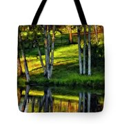 Evening Birches Painted Tote Bag