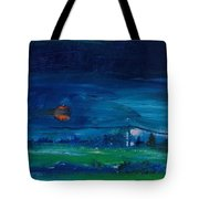 Evening Landscape Oil On Canvas Tote Bag